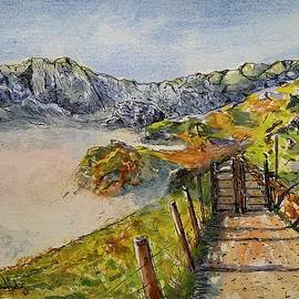 Mountain Hiking Watercolour  by Karen Harding
