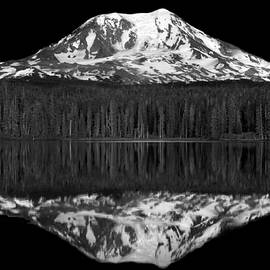 Mountain Reflection In Monochrome by Douglas Taylor