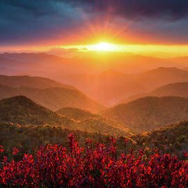 Mountain Sunset North Carolina Blue Ridge Parkway Autumn Landscape Asheville NC by Dave Allen