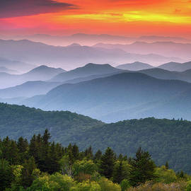 Mountain Sunset Scenic Landscape Blue Ridge Parkway North Carolina Photography Maggie Valley by Dave Allen
