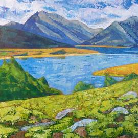 Mountains with Rocks and Lake by Susan Tormoen