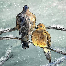 Mourning Doves In A Morning Flurry by Lois Bryan