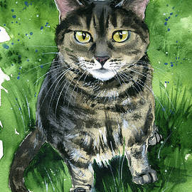 Mouse - Tabby Cat Painting by Dora Hathazi Mendes