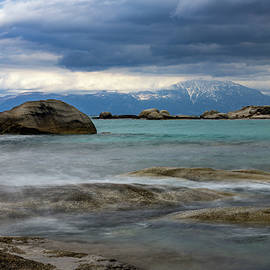 Mt Athos Across Rough Waters by IC Papachristos