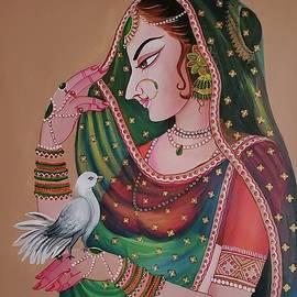 Mughal Lady with bird by Anjali Swami