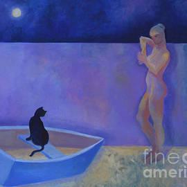 Woman, Cat, Moon by Victoria Sheridan