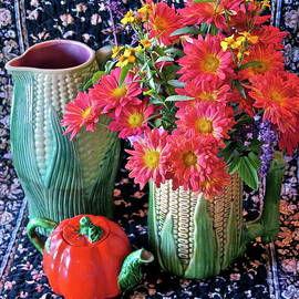 Mums with Antique Majolica Corn Pottery by Bonnie See