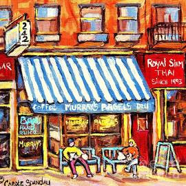 Murrays Bagels Greenwich Village C Spandau Paints Best Restaurant Diners New York City American Art by Carole Spandau