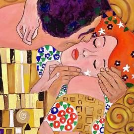 My Kiss. Hand painted reproduction of fragment  KISS  Gustav Klimt by Natalya Simonova