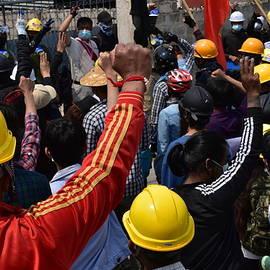 Myanmar peaceful protesters  by Robert Bociaga
