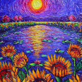 MYSTIC NIGHT sunflowers by waterlilies pond in moonlight palet knife oil painting Ana Maria Edulescu by Ana Maria Edulescu