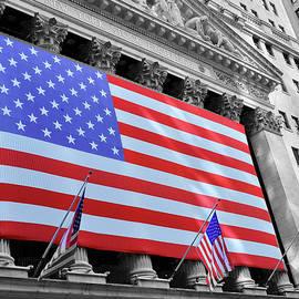 New York Stock Exchange American Flag 2 by Allen Beatty