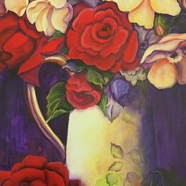 Naive Still Life With Roses by Theresa Tahara