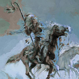 Native on Horse fighting 01 by Gull G
