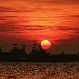 Naval Ships at Sunset by Marcia Colelli