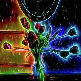 Neon Tulips One by Mo Barton