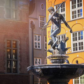Neptune's Fountain Gdansk Old Town Poland  by Carol Japp