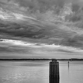 Neuse River Sunset in Black and White by Bob Decker