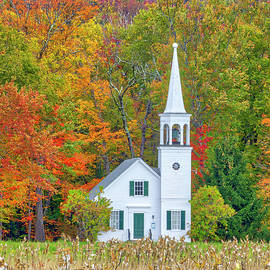 New England fall foliage at the Wonalancet Union Church by Juergen Roth