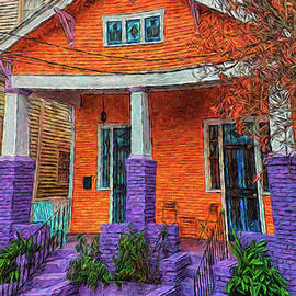 New Orleans Colorful Bungalow House by Rebecca Korpita