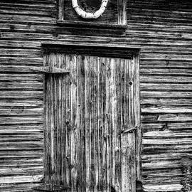 1800's Barn Side Door with Birch Wreath -  woodfarmshedblkwhi090921 by Judy Duncan