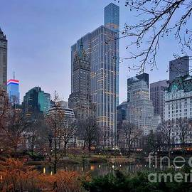 New York City Skyline at Dusk - Central Park with Plaza Hotel by Miriam Danar