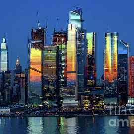 New York Skyline - Dusk Lights and Reflections by Regina Geoghan