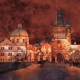 Night at Charles Bridge in Prague by Alex Mir