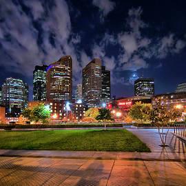 Night Clouds Over Boston Skyline by Joann Vitali