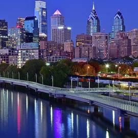 Night Falls on Philadelphia by Chicago Skyline Art