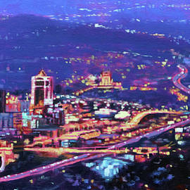 Night Lights - City Lights of Roanoke Virginia from Mill Mountain by Bonnie Mason