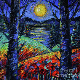NIGHT LOVE Textured Palette Knife Oil Painting Mona Edulesco by Mona Edulesco