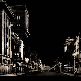 Night Scene Downtown Main Street by Susan Hope Finley