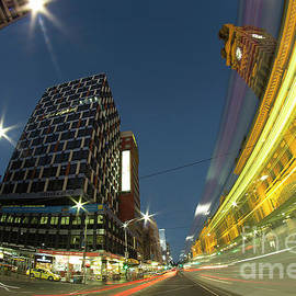 Night view of Flinders Street Station from street, Melbourne, Victoria, Australia.