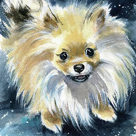 Noce Pomeranian Puppy Painting by Dora Hathazi Mendes