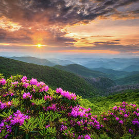 North Carolina Appalachian Mountains Blue Ridge Parkway Sunset Landscape Asheville NC by Dave Allen