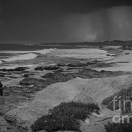 Northern California Coastline Thunder Lightning Black White Landscape  by Chuck Kuhn