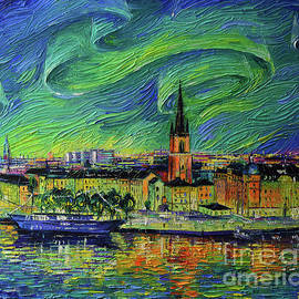 NORTHERN LIGHTS OVER STOCKHOLM palette knife oil painting Mona Edulesco by Mona Edulesco