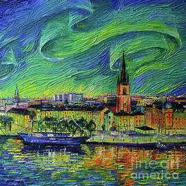 NORTHERN LIGHTS OVER STOCKHOLM square detail palette knife oil painting Mona Edulesco by Mona Edulesco