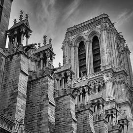 Notre Dame Cathedral Black White 2008 by Chuck Kuhn