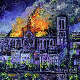 NOTRE DAME DE PARIS FIRE Palette Knife Oil Painting Mona Edulesco by Mona Edulesco