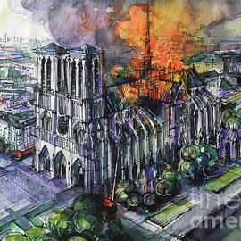 NOTRE DAME DE PARIS TRAGEDY watercolor painting Mona Edulesco by Mona Edulesco