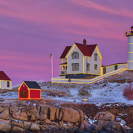 Nubble Light with Christmas Decoration by Juergen Roth