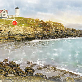 Nubble lighthouse watercolor by Alexey Stiop