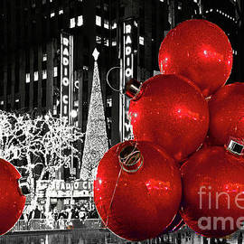 NYC Big Red Balls on Black and White by Regina Geoghan