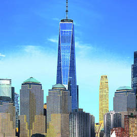 NYC Freedom Tower and Hudson River by Regina Geoghan