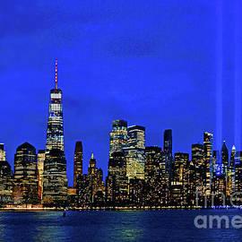 NYC Tribute in Light Beams at Twilight by Regina Geoghan