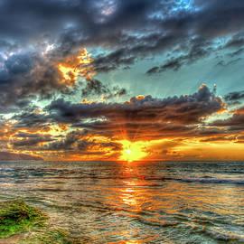 Oahu Hawaii Dancing Light Across The Water Pacific Ocean Sunset North Shore Seascape A by Reid Callaway