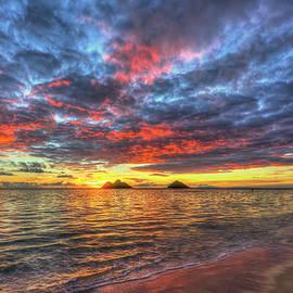 Oahu HI A Glorious Red Yellow Sunrise 2 Lanikai Beach Seascape Art by Reid Callaway