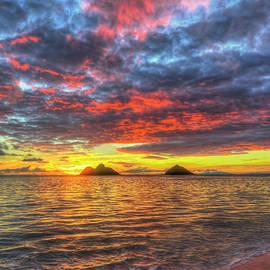 Oahu HI A Glorious Red Yellow Sunrise Lanikai Beach Seascape Art by Reid Callaway